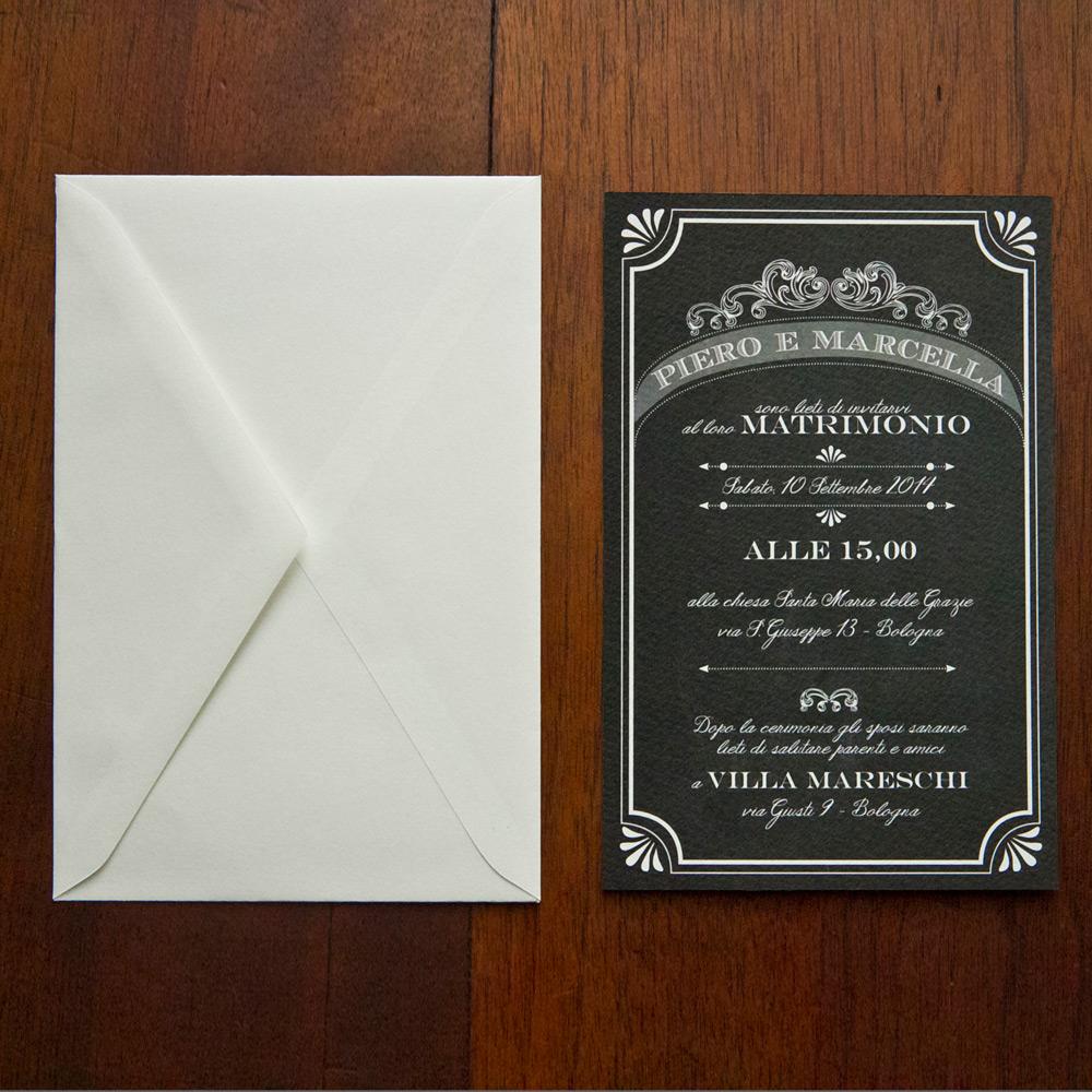 Partecipazioni Matrimonio Anni 30.Partecipazione Di Nozze Lavagna In Stile Retro Modello 1