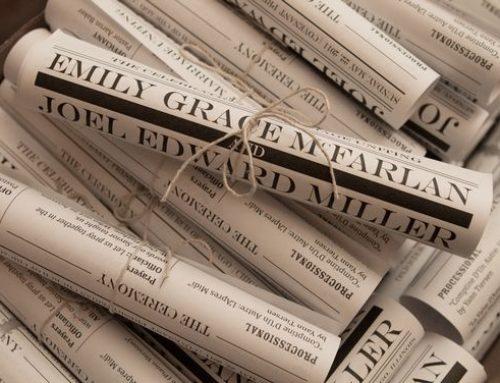 Annunciare il matrimonio con un articolo di giornale