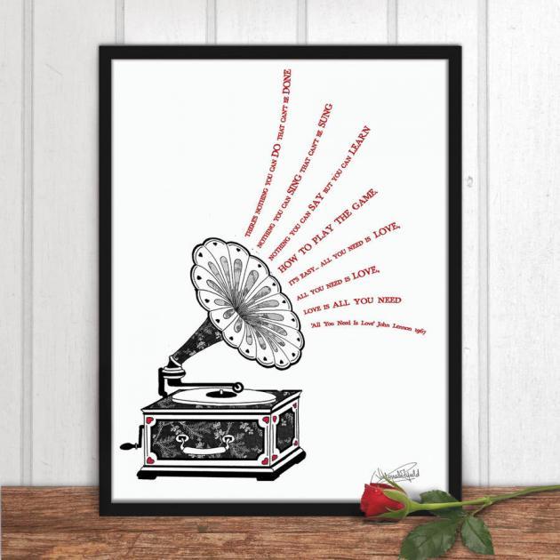 partecipazione matrimonio vintage con grammofono