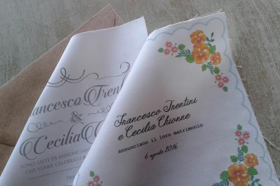 partecipazioni di matrimonio a forma di fazzoletti