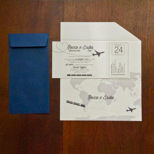 partecipazione di nozze biglietto aereo modello 2