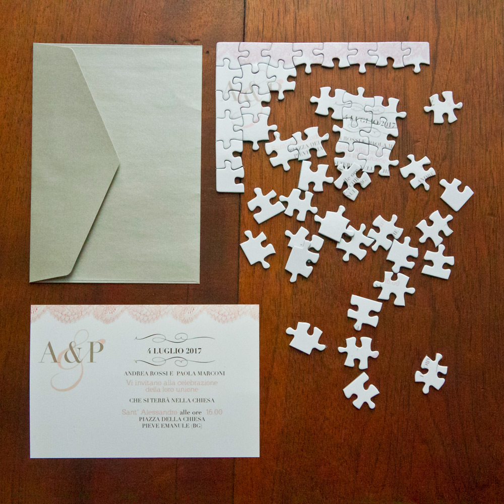 Matrimonio Tema Puzzle : Partecipazione di nozze puzzle con pizzo