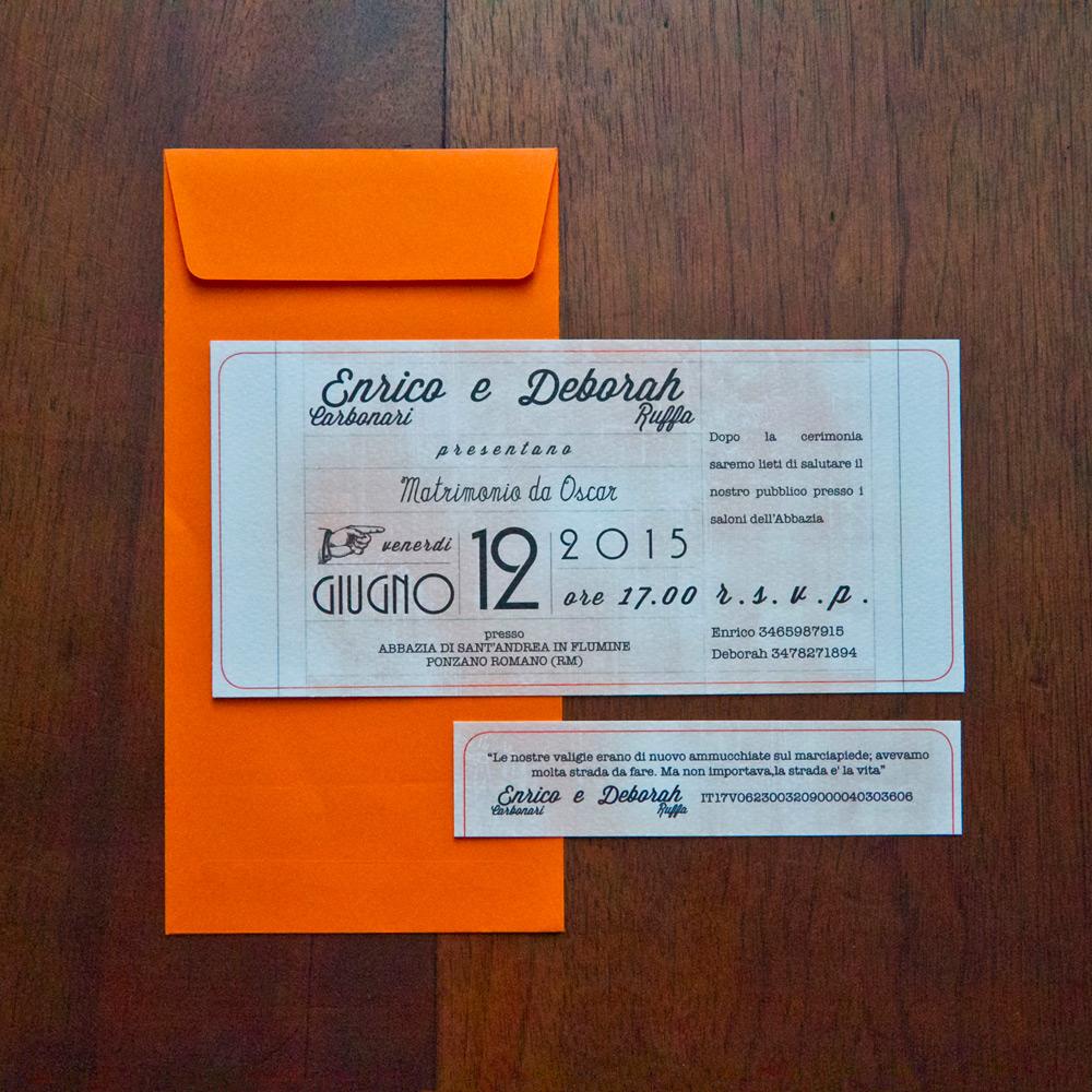 partecipazione matrimonio ticket cinema