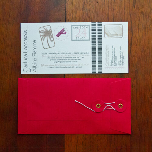 Partecipazione matrimonio cartolina air mail