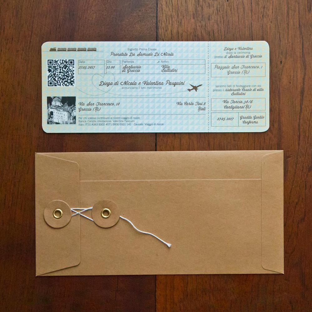 Auguri Matrimonio Tema Viaggio : Partecipazione di nozze ticket viaggio modello