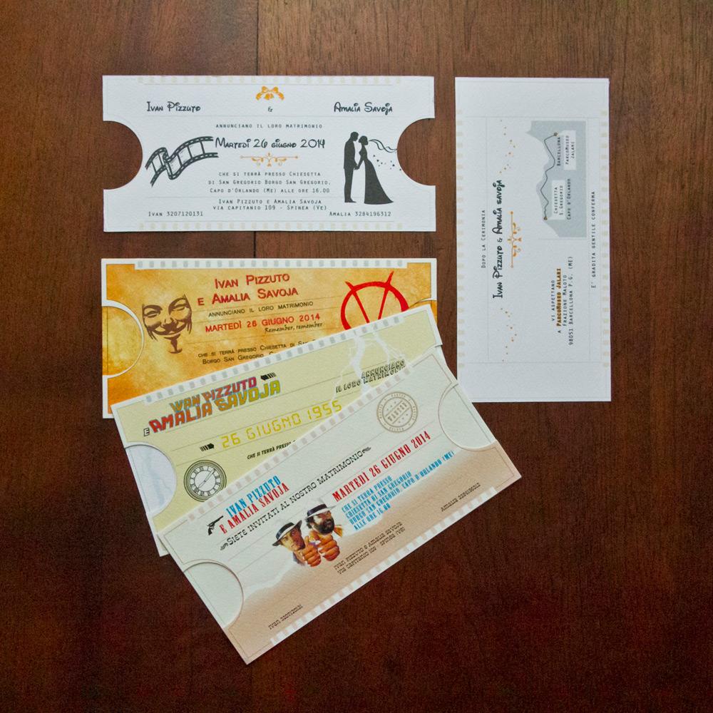 Partecipazione matrimonio ticket cinema mod 3 for Partecipazioni nozze on line
