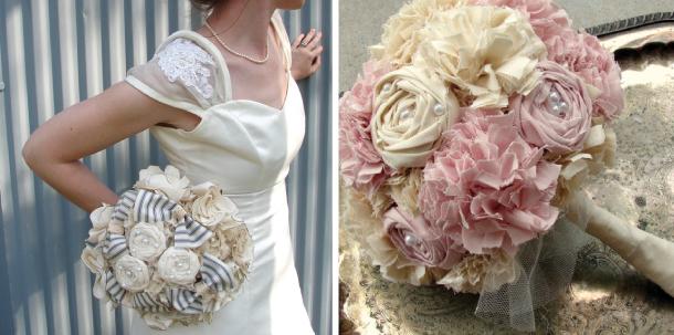 Bouquet Sposa In Stoffa.Bouquet Vintage Realizzato Con Stoffe Perle E Spille