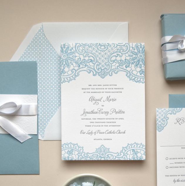 Partecipazioni Matrimonio Azzurro : Partecipazioni di matrimonio con il pizzo partecipazioni per