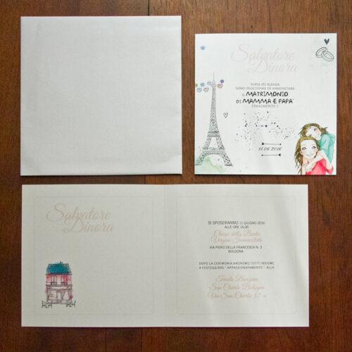 partecipazione matrimonio con caricature sposi