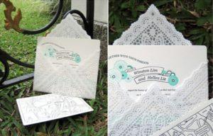 buste originali per partecipazioni di matrimonio: in pizzo