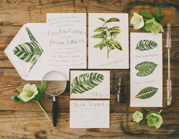 Partecipazioni Matrimonio Natura.Partecipazioni Di Matrimonio Con Busta A Forma Di Foglia