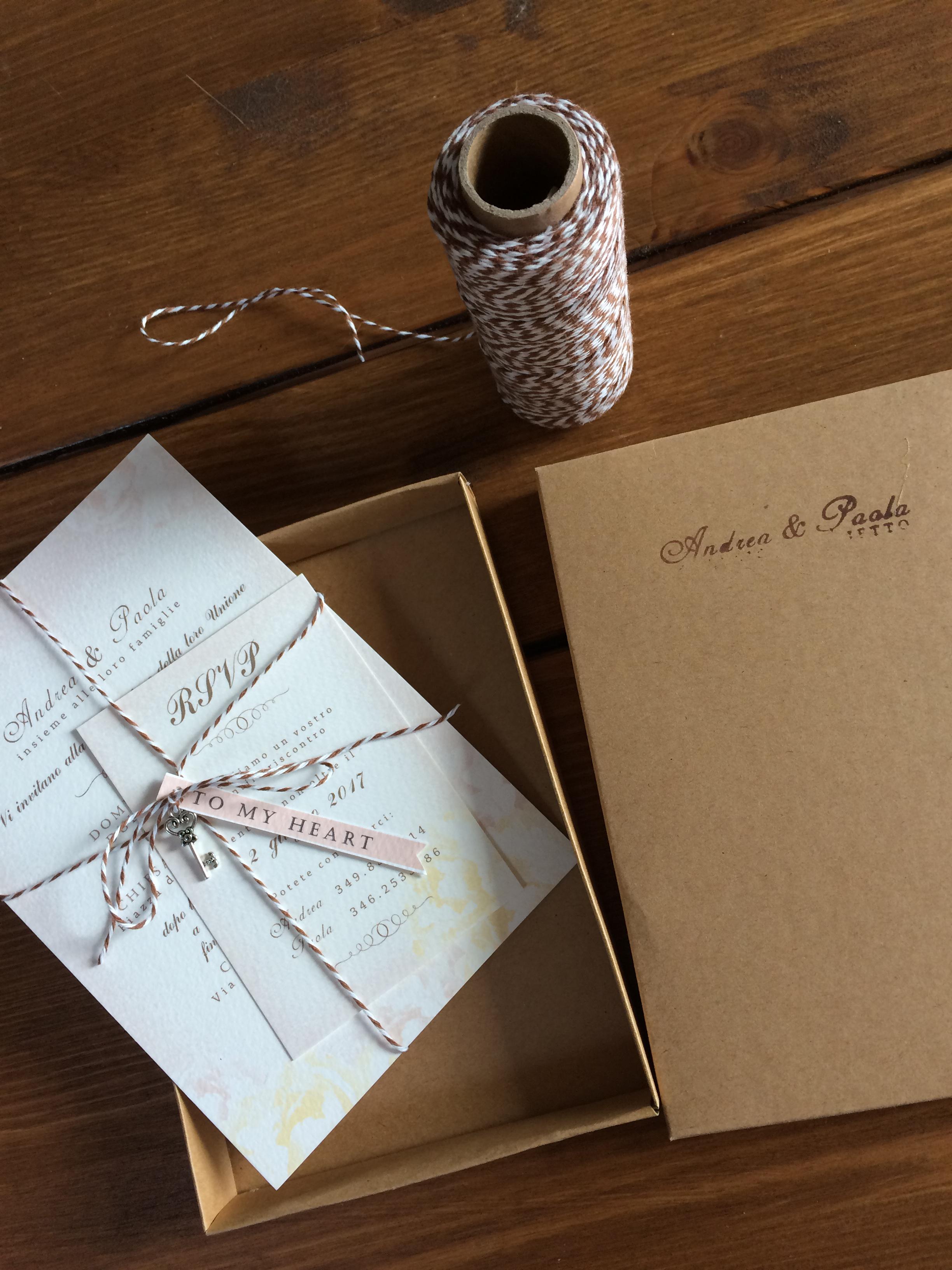 partecipazioni nozze in scatola stile chiave
