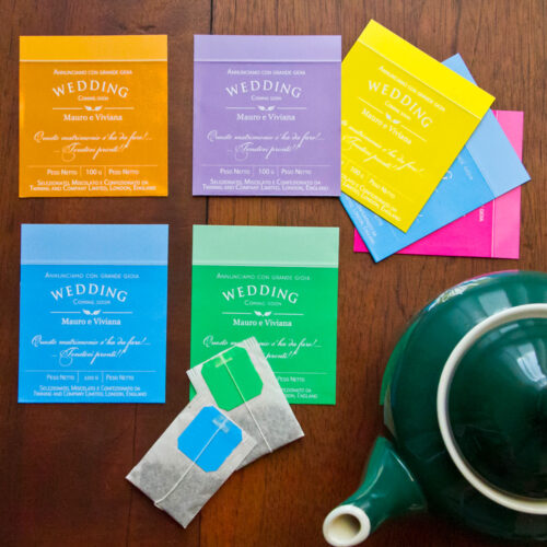 Partecipazione di nozze bustina da tè colorata