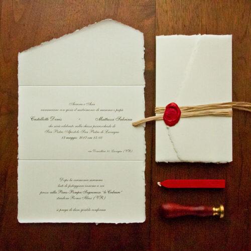 Partecipazioni matrimonio in carta Amalfi con ceralacca