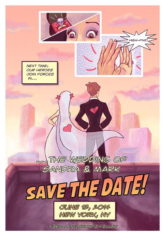 biglietto di matrimonio per supereroi