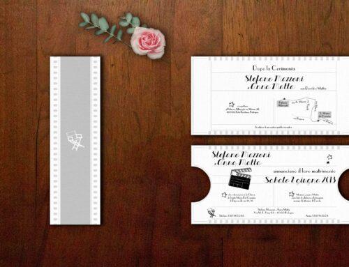 Le partecipazioni di matrimonio biglietto del cinema di Stefano & Anna