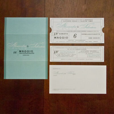 Partecipazione matrimonio ticket cinema color Tiffany