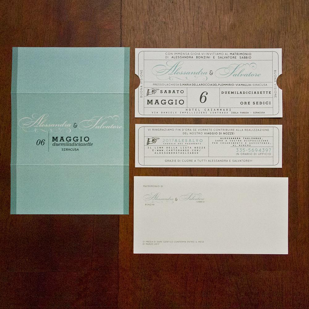 Partecipazione matrimonio ticket cinema color Tiffany