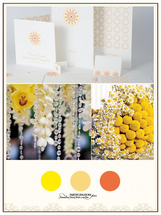 partecipazioni di matrimonio gialle e arancio