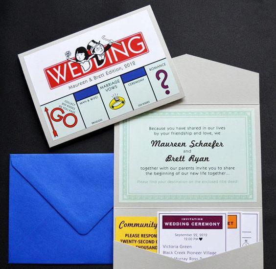 Partecipazioni di matrimonio spiritose stile monopoli
