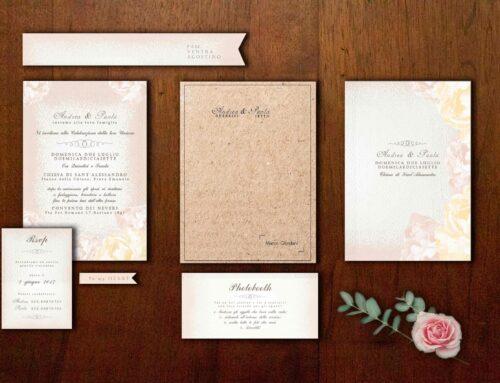 Partecipazioni di matrimonio in scatola di Andrea e Paola