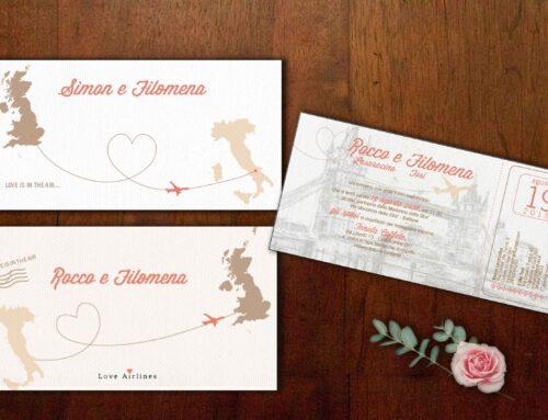 Partecipazioni di nozze a ticket Filomena e Simon