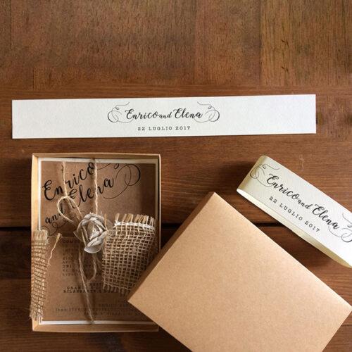 Partecipazioni nozze quadrate scatola iuta