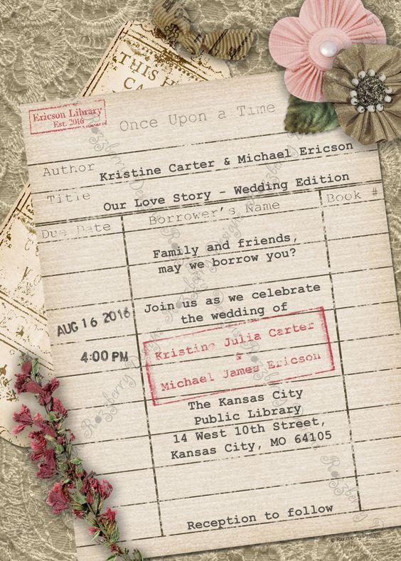 Partecipazioni di matrimonio stile tessera della biblioteca vintage