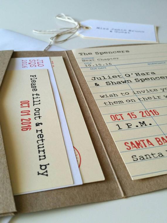 Partecipazioni di nozze stile tessera della biblioteca