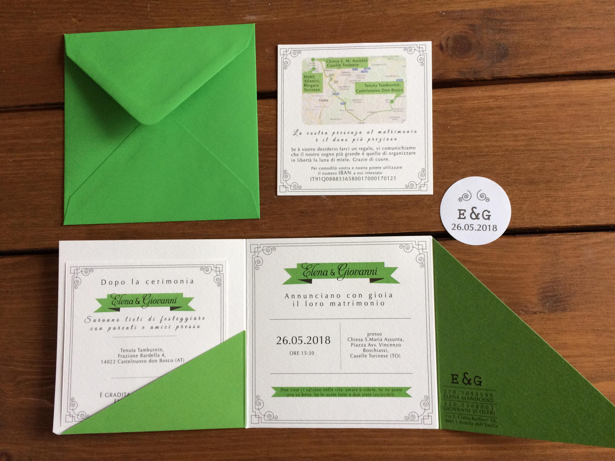Partecipazioni di nozze tre ante verde e tasca