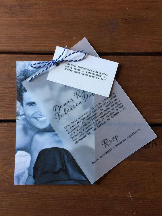 Partecipazioni matrimonio con foto carta traslucida