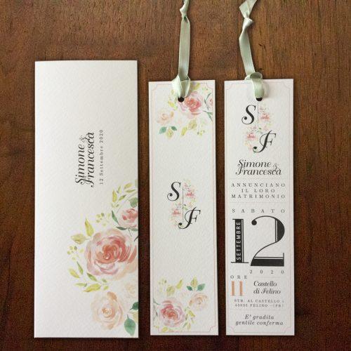 Partecipazioni matrimonio segnalibro con fiori